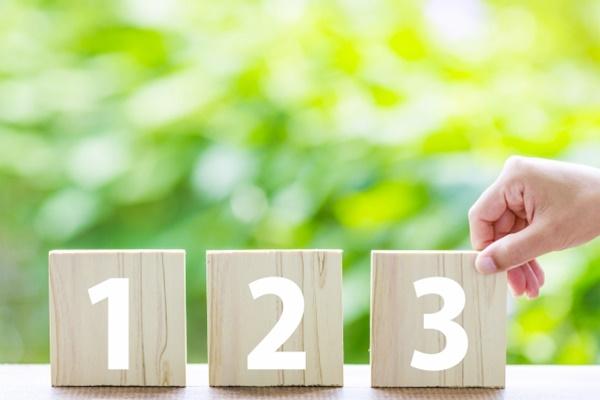 手順の番号を並べる女性の手