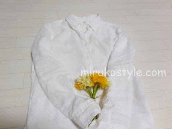白シャツと花束